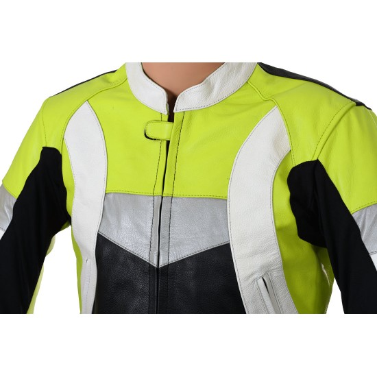 RTX Violator GSXR Fluorescent Yellow Leather Biker Jacket