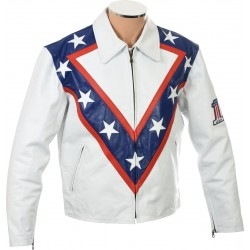 Evel Knievel Tribute White Leather Jacket