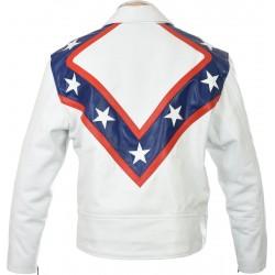 Evel Knievel Tribute White Leather Jacket