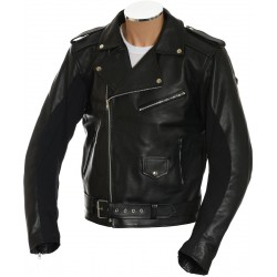 All American Mod Biker Classic Black Armoured Leather Jacket