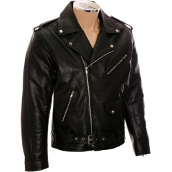 All American Mod Biker Classic Black Leather Jacket