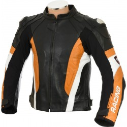 RSV Orange Sports Biker Leather Jacket