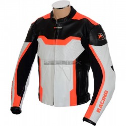 SALE - Neon Arbiter Orange Leather Motorcycle Jacket