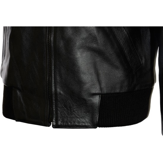 Aviator Black Leather Bomber Jacket