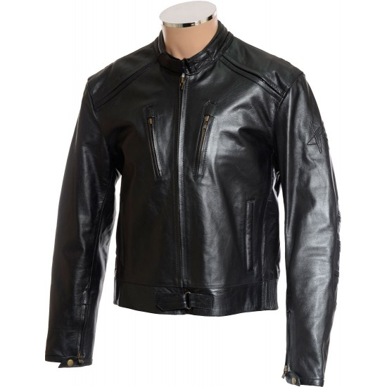 English Cafe Racer Leather Biker Jacket