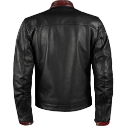 Dark Knight Black Maroon Leather Biker Jacket