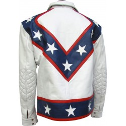 Evel Tribute Star Spangled Belted Leather Jacket