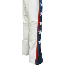 Evel Knievel Star Spangled White Leather Trouser Pant