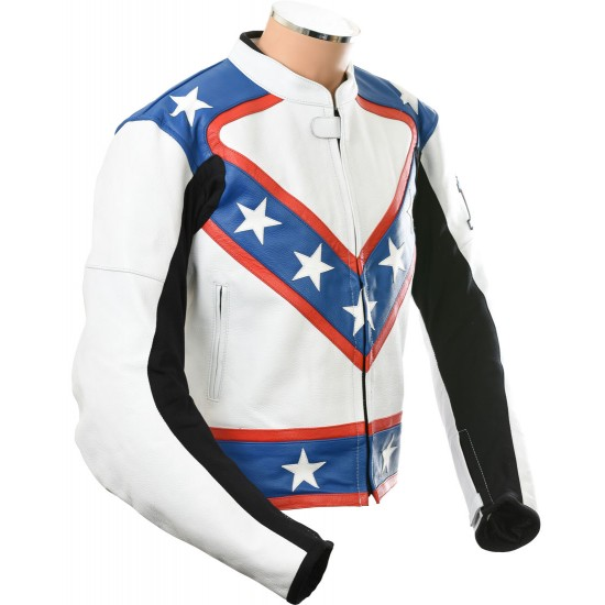 Evel Knievel Fully Armoured Biker Leather Jacket