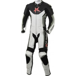 RTX Grey Arbiter Sports Biker One Piece Leather Suit