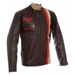 Steve McQueen Heuer Grand Prix Quilted Brown Leather Jacket