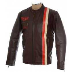 SALE - Brown Steve McQueen Heuer GrandPrix Leather Jacket