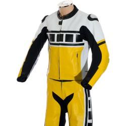 Leguna Seca Yellow Leather 2Pc Biker Suit