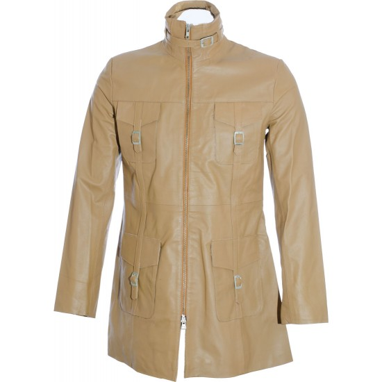 SALE - Ladies Beige Soft Leather Mid Length Coat