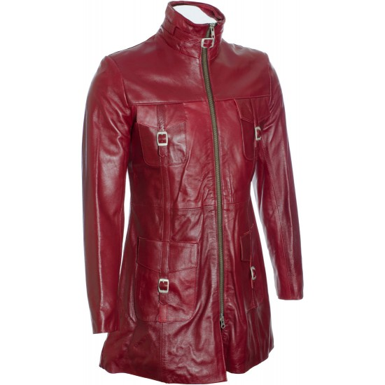SALE - Ladies Red Soft Leather Mid Length Coat