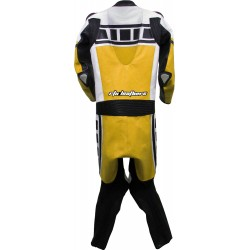 Leguna Seca Yellow Leather One Piece Biker Suit