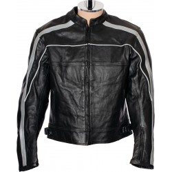 RTX Vintage Retro Classic Black Leather Motorcycle Jacket