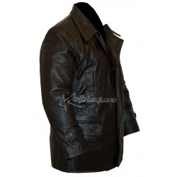 Classic Mens Leather Trench Coat