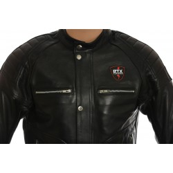 RTX Admiral Black Leather Biker Jacket