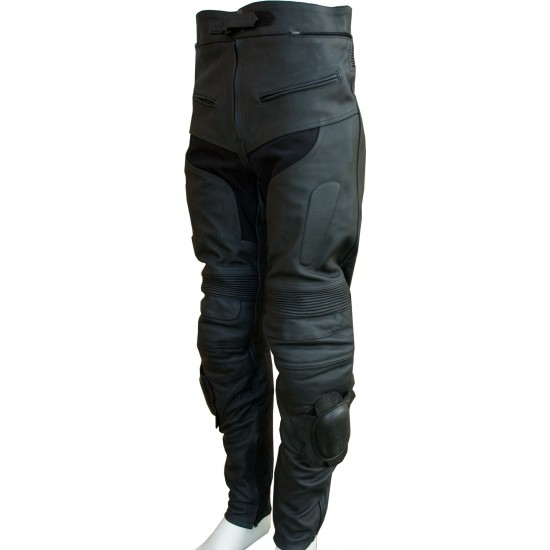 Premier Matt Leather Black Motorcycle Trouser