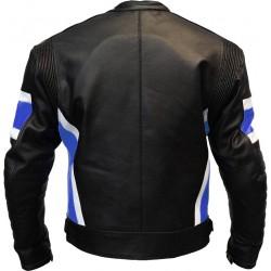 RTX Dark Knight Blue Cruiser Leather Biker Jacket