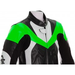 Mini Moto Junior Green Biker Leather Suit