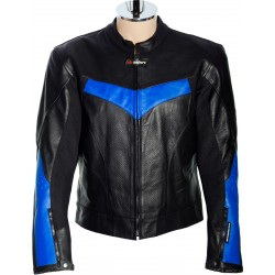 RTX Force One Blue Black Leather Jacket