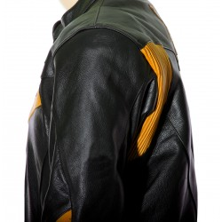 RTX Force One Orange Black Leather Jacket
