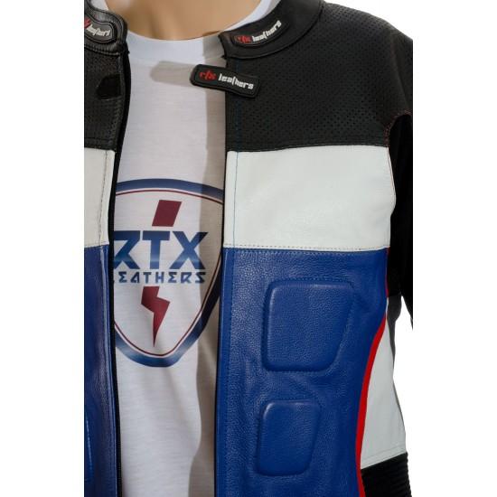 GP Tech Blue Black Motorcycle Sports Biker Jacket