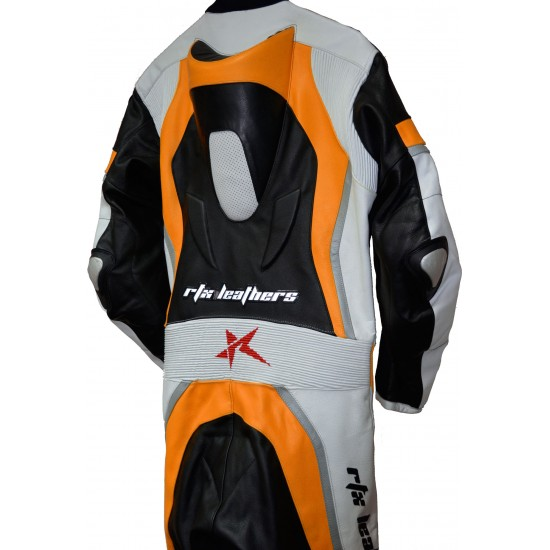 Halo Evo Sports Orange Leather Motorcycle Suit