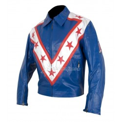 Evel Knievel Wembley Blue Leather Jacket
