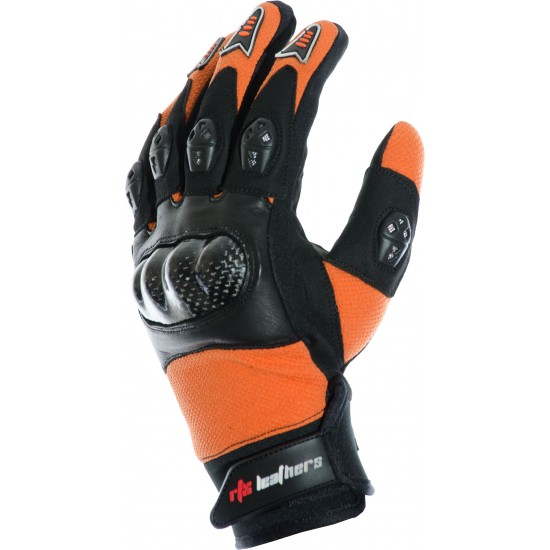 MotoX Orange Pro Motocross Leather Gloves