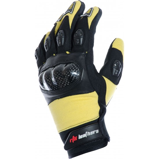 MotoX Yellow Pro Motocross Leather Gloves