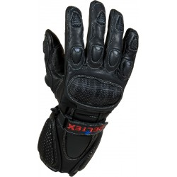 RTX Neon Black Vented Leather Motorcycle Gloves