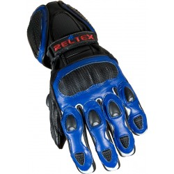 RTX Neon Blue Vented Leather Motorcycle Gloves