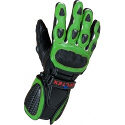 RTX Neon Green Vented Leather Motorcycle Gloves