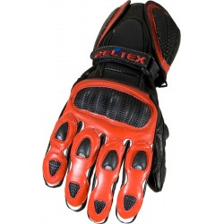 RTX Neon Red Vented Leather Motorcycle Gloves