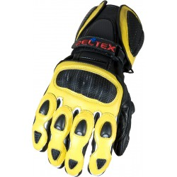 RTX Neon Yellow Vented Leather Motorcycle Gloves