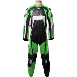 Raptor Green Motorbike Armoured Leather Suit