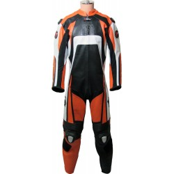 Raptor Orange Armoured Biker Leather Suit
