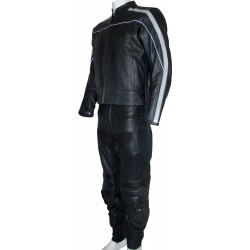 RTX Retro Classic Black Leather Motorcycle 2 Piece Suit