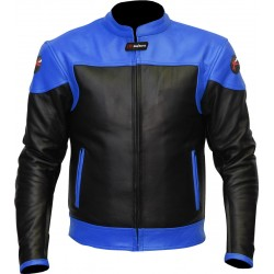 RTX Venom Blue Black Leather Biker Jacket