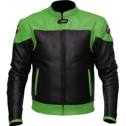 RTX Venom Green Black Leather Biker Jacket
