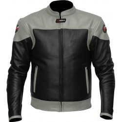 RTX Venom Grey Black Leather Biker Jacket