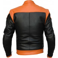 RTX Venom Orange Black Leather Biker Jacket