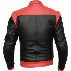 RTX Venom Red Black Leather Biker Jacket