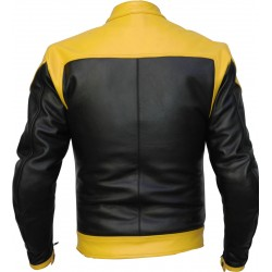 RTX Venom Yellow Black Leather Biker Jacket