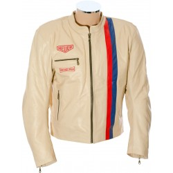 Steve McQueen GULF Cream LE MAN Armoured Biker Jacket
