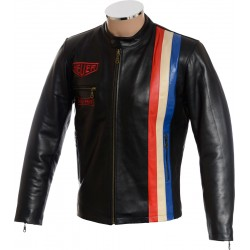 Steve McQueen Heuer Grand Prix Quilted Black Leather Jacket