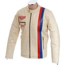 Steve McQueen Heuer Grand Prix Quilted Cream Leather Jacket